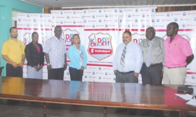 Sponsors and executives of the GCB/WICB Scotia Bank Kiddies Cricket programme yesterday at the launching.
