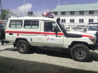 The brand new ambulance, which was handed over from the Japanese government to the Guyana Red Cross Society