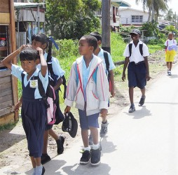 Pupils of the Number 2 Primary School heading home for lunch