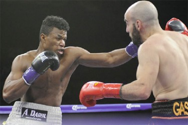 Simeon Hardy and Vito Gasparyan going at it during their Boxcino 2015 fight on Friday night.