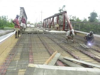 Rehabilitation work on the old Mahaica Bridge commenced last September. (Ministry of Public Works photo)