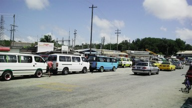 The line of buses at the Vreed-en-Hoop bus park on Friday morning.
