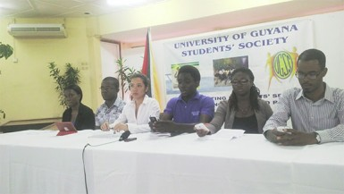 UGSS committee members at the press conference yesterday afternoon at the Education Lecture Theatre of the Turkeyen Campus.
