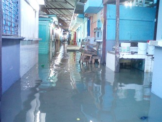 A section of the flooded Stabroek Market