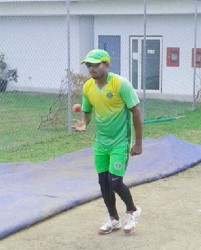 PCL leading wicket-taker Veerasammy Permaul prepares to bowl during the Guyana Jaguars training session at the Kensington Oval Ground, Barbados yesterday