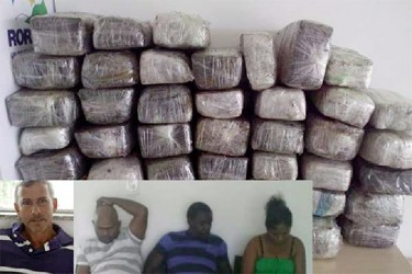 This composite photo shows the wrapped packets of marijuana and the four accused. (Boa Vista News)