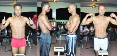 Ripped and Ready! Clive Atwell (left) and Sakima Mullings pose for the cameras during last night's weigh in at the Regency Suites. (Orlando Charles photo)