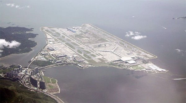 Hong Kong International Airport on the artificial island of Chek Lap Kok. It opened in July 1998 and took 6 years to build at a cost of US$20 billion