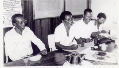 Thomas and WPA activists in the 1980s: L-R Stanley Humphrey-Collins, Dr. Clive Thomas, Denys Vaughn-Cooke,  Ameer Mohamed