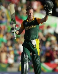 South Africa's AB De Villers celebrates reaching three figures yesterday on the way to his record breaking knock of 162 not out.