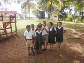 Shy primary school pupils going for lunch
