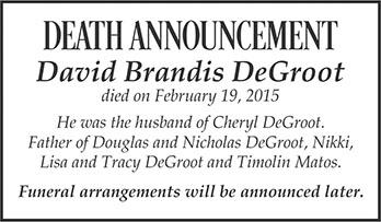 Death Announcement David DeGroot 2x2