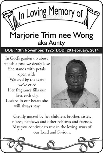 Marjorie Trim nee Wong, aka Aunty