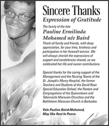 SINCERE THANKS- PAULINE MOHAMED 4X2