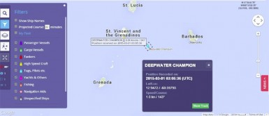 Deepwater: According to tracking services, the Deepwater Champion was between St. Vincent and Barbados early yesterday.