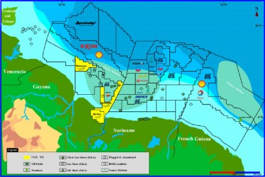 Oil Map Guyana: Concessions offshore Guyana (CGX Graphic)