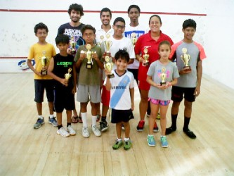 The respective champions, runners-up and third place finishers posing with their spoils following the conclusion of the tournament.