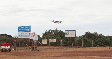 A plane lands at the Lethem Airstrip