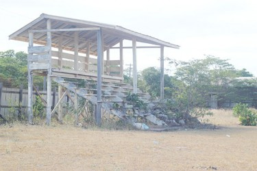 Bushes beginning to take over the stand at the Lethem community centre ground.