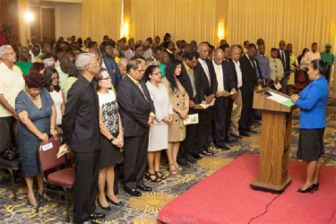 The gathering at the formal launch of the APNU+AFC alliance yesterday at the Guyana Pegasus.(APNU+AFC photo)