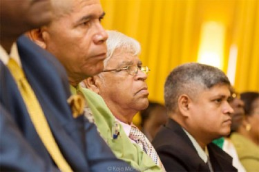 Justice For All Party Leader CN Sharma (centre), his son Jaipaul Sharma (right) and Dr George Norton (third from right) at the formal launch of the APNU+AFC alliance yesterday at the Guyana Pegasus.(APNU+AFC photo).