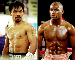 Floyd Mayweather Jr. (right) and Manny Pacquiao