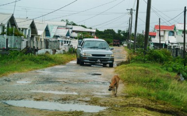 This taxi negotiates one of the deplorable roads in the village