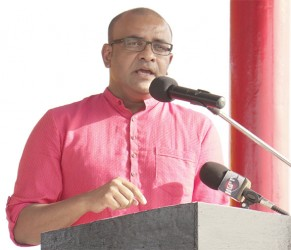 Former President Bharrat Jagdeo speaking yesterday