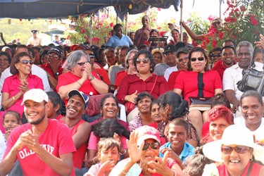 Enthused Cabinet members and others can be seen in this photo at the commemoration ceremony for Cheddi and Janet Jagan at Babu John, Port Mourant.