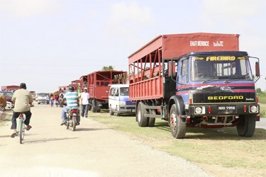 GuySuCo trucks were used to transport PPP/C supporters yesterday to the commemoration ceremony for Cheddi and Janet Jagan at Babu John, Port Mourant. It is unclear if the party had rented them.