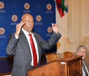Bayney Karran addressing the OAS Permanent Council