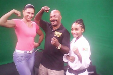 Max Massiah with two of his previous guests, Ms. Figure Queen, Nadina Taharally (left) and Aliya Wong, 2nd degree black belt karate world champion.