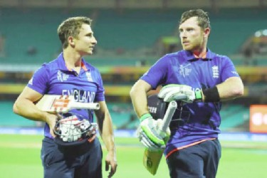 Ian Bell and James Taylor leave the field after the win. (Photo courtesy of CWC website)