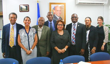 From left to right: Dr Jules Grande Pierre, Director PSI Anick Supplice Dupuy, Director of the Directorate of Family Health Dr Reynold Grand-Pierre, Dr Dellonay Brunel, Minister of Health Florence Duperval Guillaume, Director PANCAP Dereck Springer, National AIDS Programme Coordinator Dr Joelle Deas, PSI Social Marketing Consultant Sarah Romorini in the Ministry of Health Boardroom in Haiti.