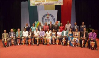 The prize winners and representatives of the National Sports Commission following the awards ceremony.