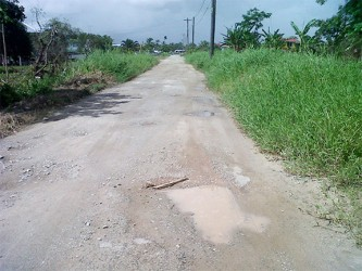 A section of the road in the Lookabu area