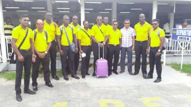 The 2014/15 Regional Four day winners Guyana Jaguars pose with CGI Executive Anand Sanasie (second for far right)