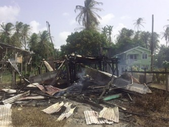 The remains of Rajnarine Persaud's house