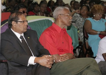 Presidential candidate of the APNU+AFC coalition David Granger (right) and his Prime Ministerial candidate Moses Nagamootoo.