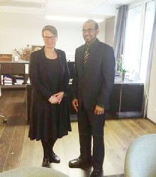 Norwegian Minister of Climate and Environment Tine Sundtoft with Minister of Natural Resources Robert Persaud (Ministry of Natural Resources photo)