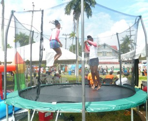 Children enjoying a trampoline treat