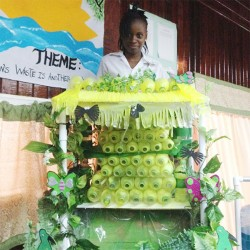 "The winning entry in preliminary round of the Technological Skills Competition held at the Carnegie School of Home Economics on Thursday. The ""Tropical Waterfall"" was created using PVC pipes and water bottles."