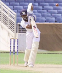 Shamarh Brooks on drives on the way to his century for Barbados Pride yesterday. (Photo courtesy WICB media)