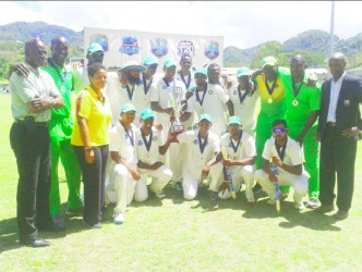 The victorious Guyana team following their outright win over the Windward Islands yesterday.