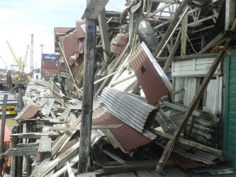 Part of the collapsed roofing