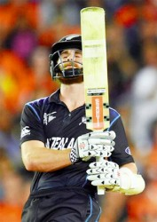Man of the match Grant Elliott is a picture of relief after powering New Zealand to their first World Cup final with an unbeaten knock of 84 yesterday.