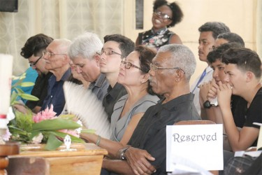 A section of the gathering yesterday at the St Saviour's Parish Church for the funeral service for Margery Kirkpatrick who died on Saturday.