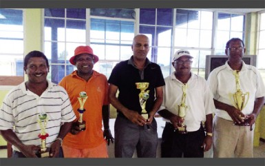 In picture, the winners - from L to R: M. Mangal, I. Khan, P. Persaud, C. Deo and P. Prashad