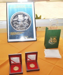 The Commemorative Coin minted to mark the 50th Anniversary of the Bank of Guyana. (Government Information Agency photo)
