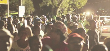 Hundreds gathered at Turning Point, Tucville last evening for a youth rally hosted by the Youths for David Granger group. See story on page 10. (Rae Wiltshire photo)